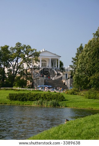Cameron Gallery in Catherine park. Tsarskoye Selo  is a former Russian residence of the imperial family and visiting nobility 24 km south from the center of St. Petersburg. - stock photo