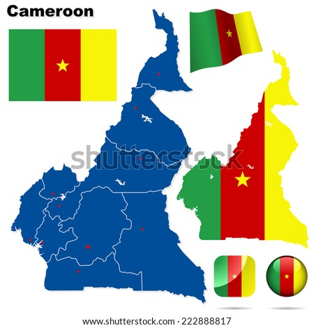 Cameroon set. Detailed country shape with region borders, flags and icons isolated on white background. - stock photo