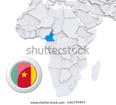Cameroon with national flag - stock photo