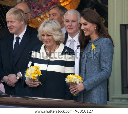 Camilla Duchess of Cornwall and Catherine Duchess of Cambridge visit Fortnum and Mason, London, UK. March 1, 2012, London, UK Picture: Catchlight Media / Featureflash - stock photo