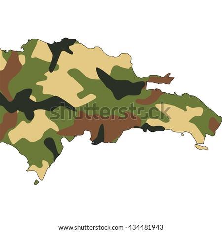Camo texture in map - Dominican Republic - stock photo