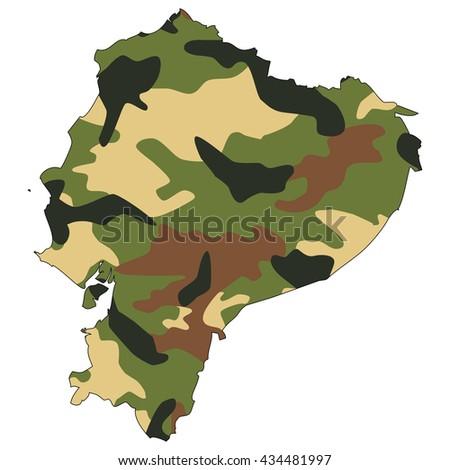 Camo texture in map - Ecuador - stock photo
