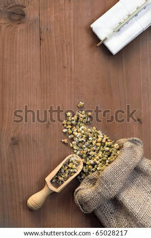 camomile and thermometer on wooden basis - stock photo
