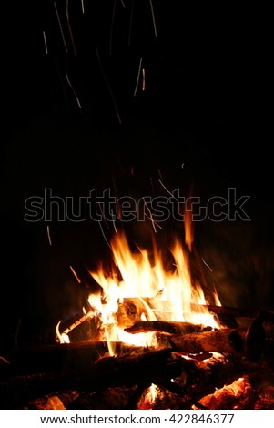 Camp fire in night - stock photo