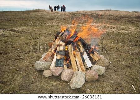 Campfire close-up - stock photo