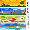 Camping and Caravaning Banner Templates - stock photo