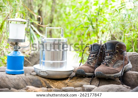 camping and hiking equipment - stock photo