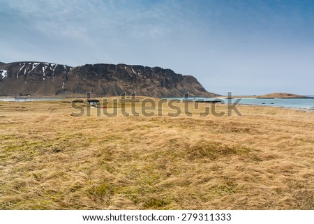 Camping at Fredvang beach, Moskenesoy island, Lofoten islands, Norway - stock photo