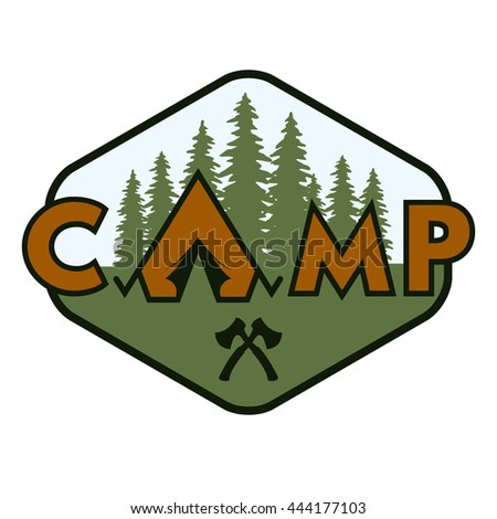 Camping badge emblem Travelling outdoors. Illustration vector copy. - stock photo