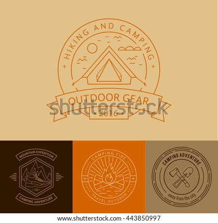 Camping badges set in thin line style. Camping and outdoor activity logo collection . Adventure, hiking, scout, exploration concept  - stock photo