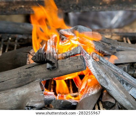camping campfire fire ring at dusk closeup - stock photo