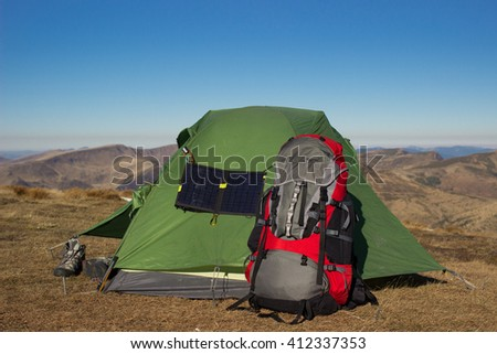 Camping elements equipment .  - stock photo