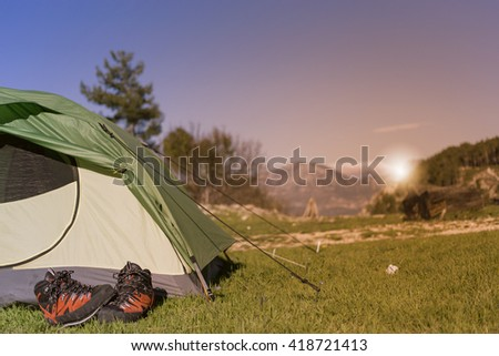 Camping elements equipment.  - stock photo