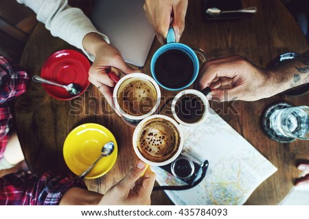 Camping Friendship Friends Map Coffee Concept - stock photo