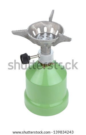 camping gas cooker on a white background - stock photo