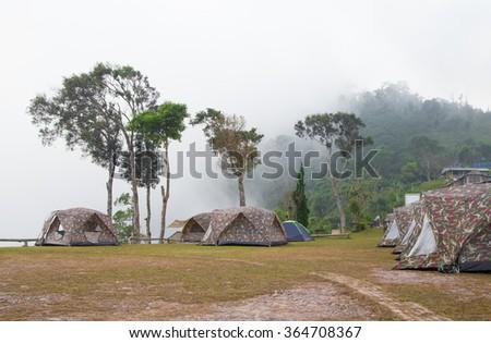 Camping grounds Khun-Sathan national park,Nan province north Thailand . - stock photo