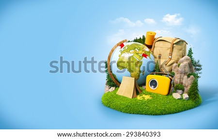 Camping in a forest. Unusual travel illustration - stock photo