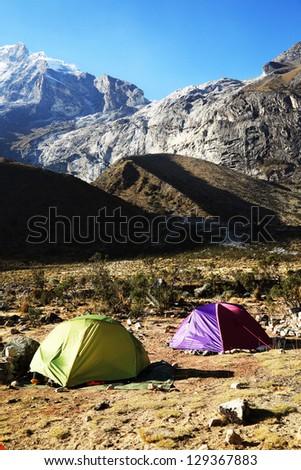 Camping in Paron Valley, Cordiliera Blanca, Peru, South America - stock photo