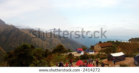 Camping in the Andes Mountains along the Inca Trail - stock photo
