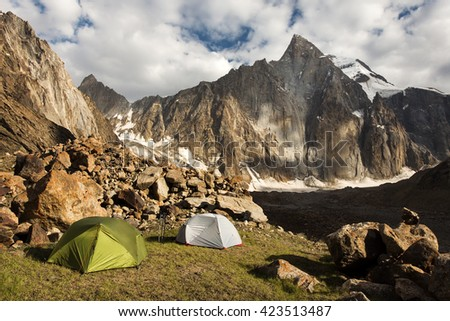 Camping in the wild mountains in south Kyrgyzstan, Central Asia - stock photo