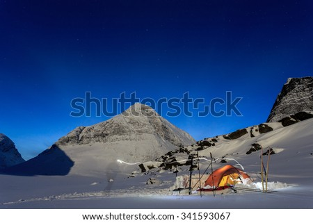 Camping in the wintertime in Northern Sweden on the Kungsleden - stock photo