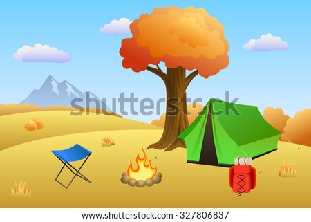 Camping meadow autumn landscape day tent campfire tree illustration  - stock photo
