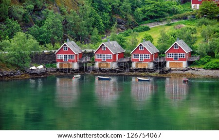 Camping near the sea. Norway. Geiranger. - stock photo