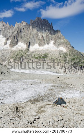 Camping on Leschaux glacier in the french Alps - stock photo