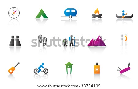 camping / outdoor icon set. high res JPG - stock photo