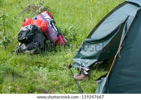camping outdoors - stock photo