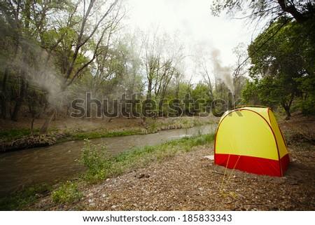 Camping sauna near river - stock photo