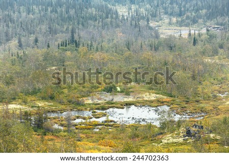 Camping site at the edge between northern taiga forest and tundra in Tuljok valley, Hibiny mountains above the Arctic Circle, Russia - stock photo