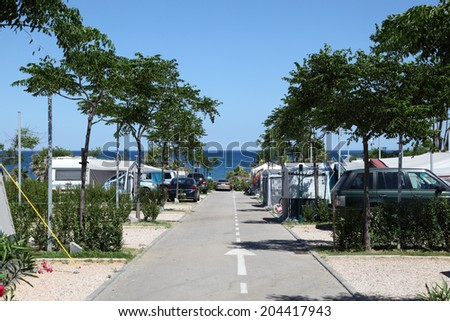 Camping site at the mediterranean coast in southern Spain - stock photo