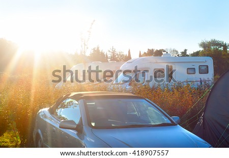 Camping site in the bright morning sun . Arles, France - stock photo