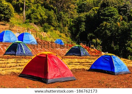 Camping Tents at Campground during Daytime - stock photo