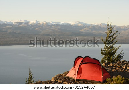 Camping with mountain views, Bariloche, Patagonia, Argentina - stock photo