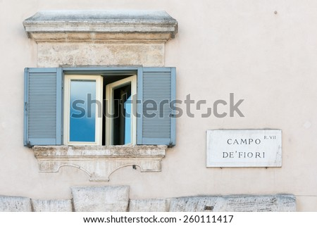 Campo de Fiori sign of famous street market in Rome - stock photo