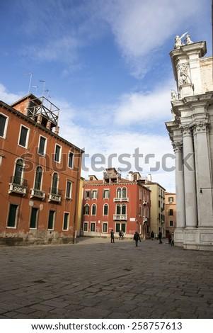 Campo dei Gesuiti with church of Santa Maria Assunta, known as I Gesuiti, Venice, Italy - stock photo