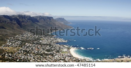 Camps Bay Beach near Cape Town, in the Western Cape Province of South Africa, as seen from Lion's Head - stock photo