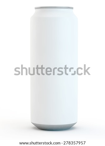 can for beer or drinks with an empty surface on a white background - stock photo