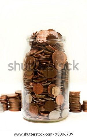 can full of change - stock photo