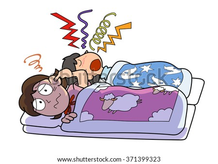 can not sleep because of snoring - stock photo