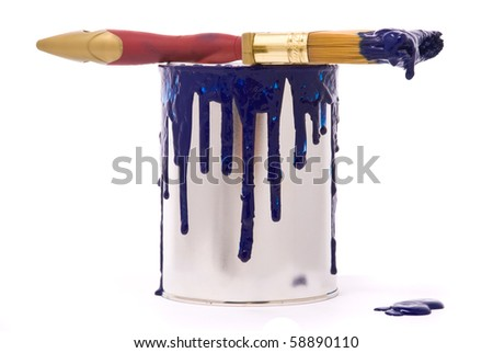 Can of blue paint and professional brush on a white - stock photo