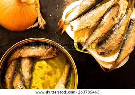 Can of sardines or sprats and close sandwich with fish and onion - stock photo
