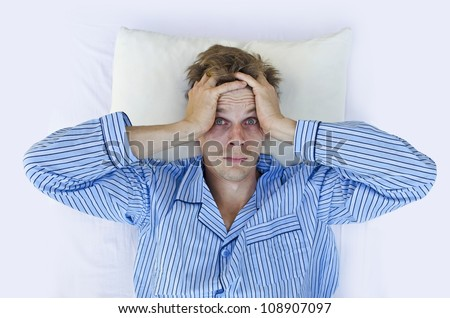 can't sleep from stress - stock photo
