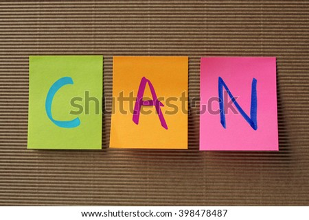can text on colorful sticky notes - stock photo