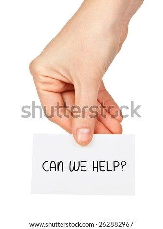 Can we help? on business card  - stock photo