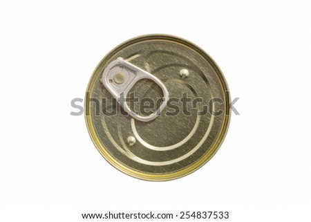 can with a key on a white background the top view - stock photo