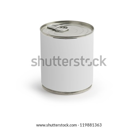 Can with blank white label isolated on white. - stock photo