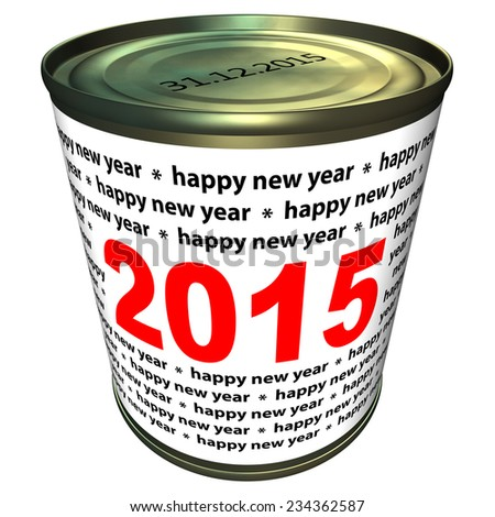 Can with numbers 2015. Happy new year 2015. - stock photo